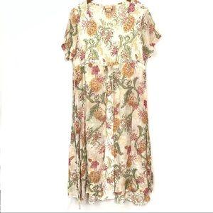 April Cornell | VTG Floral Picnic Dress Sheer Sz M